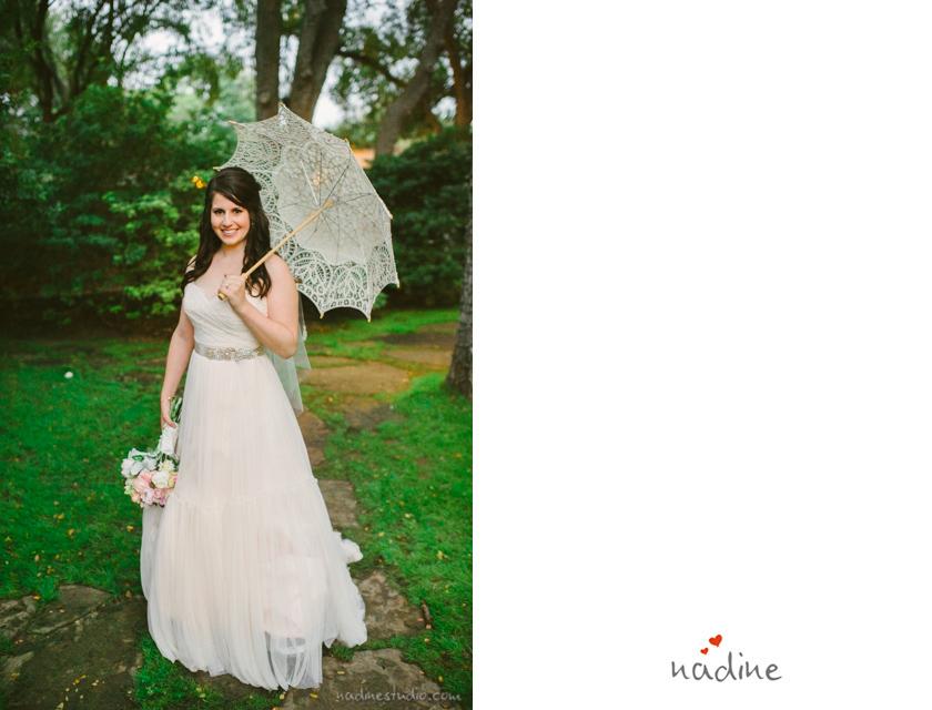 bride with lace umbrella