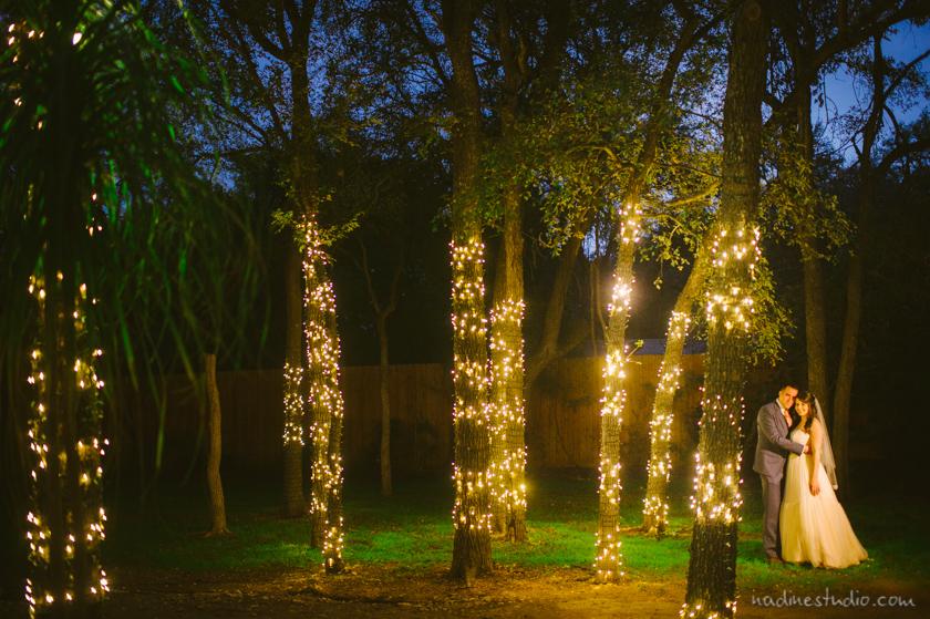 twinkle lights dusk wedding portraits