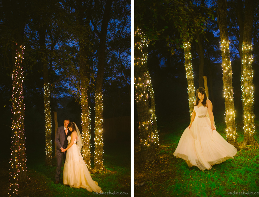 dusk photographs of couple with twinkle lights