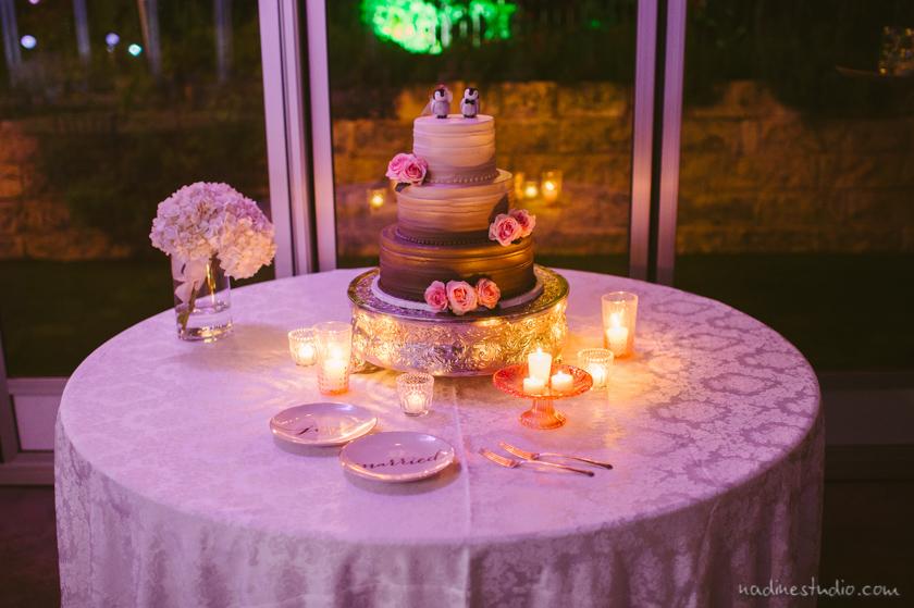 purple lit wedding cake