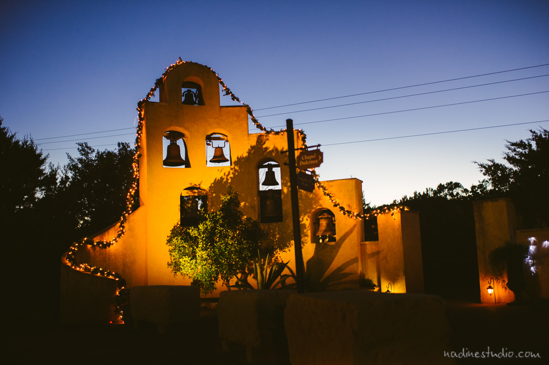 chapel dulcinea at dusk and night time