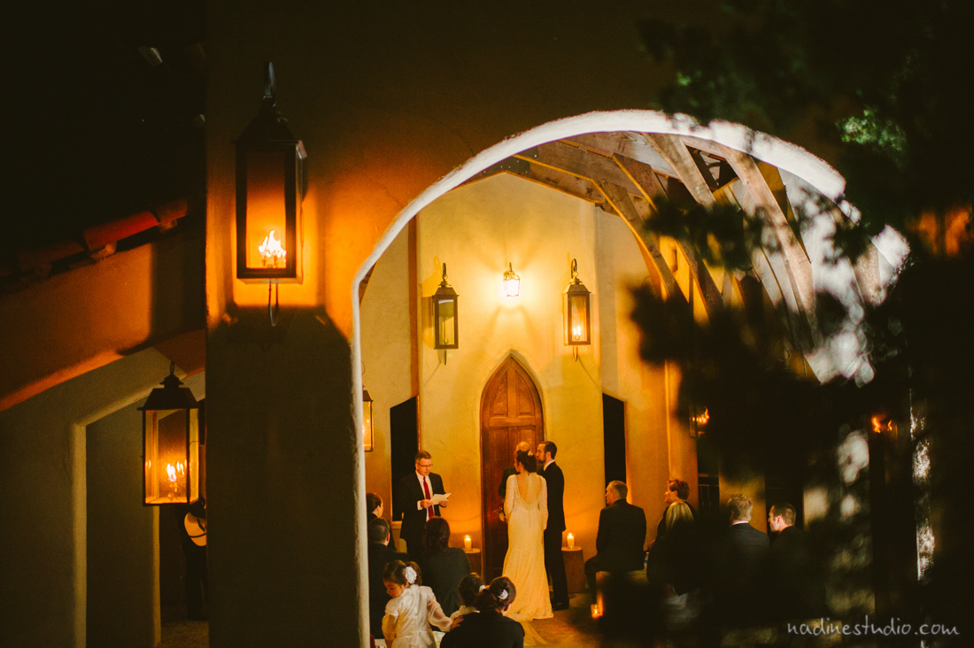 night wedding after the sun sets at chapel dulcinea