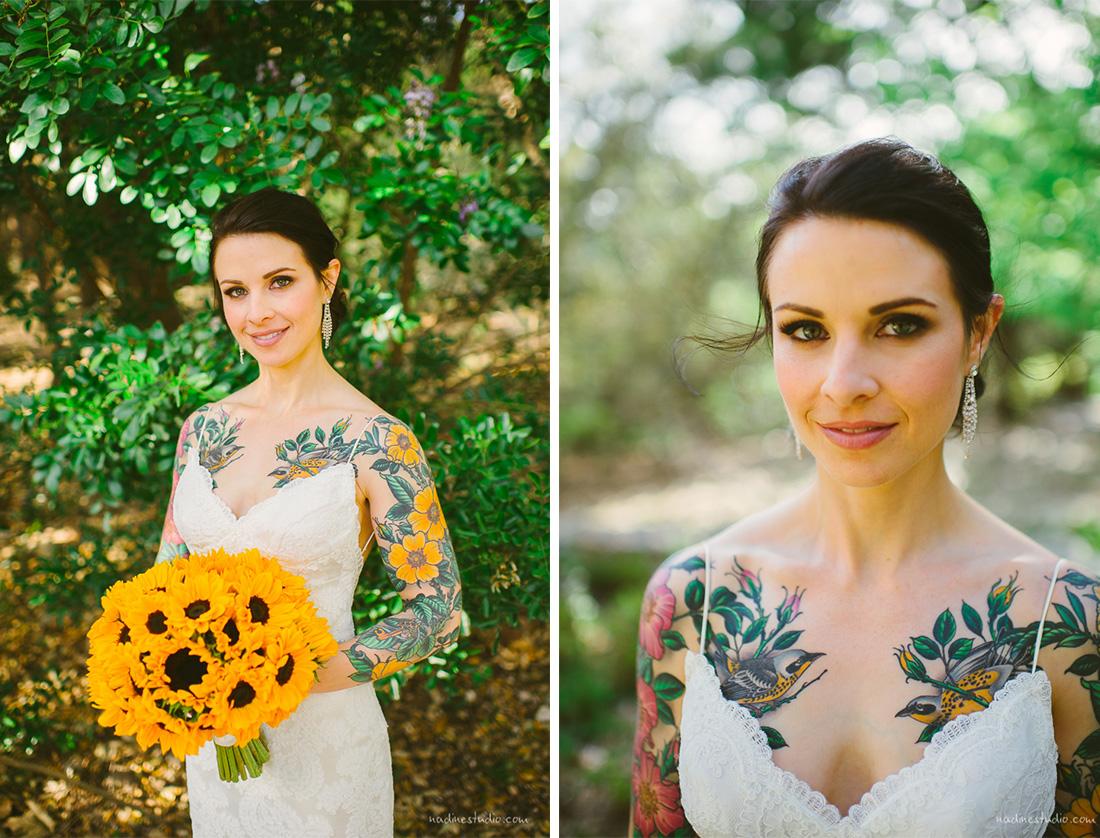 tattooed bride with dandelion
