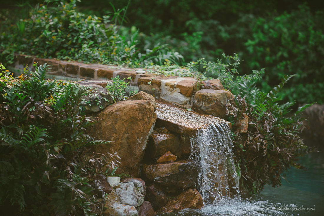 refreshing waterfall in green areas