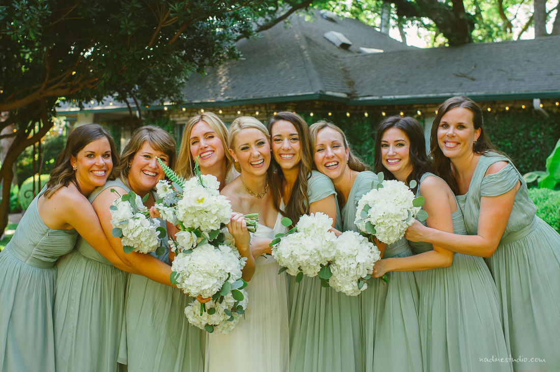 sea foam pastel green bridesmaid dresses with white florals
