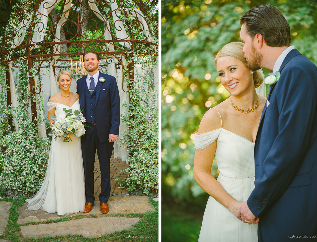 elegant wedding couple saying their vows in the hummingbird house in manchaca texas