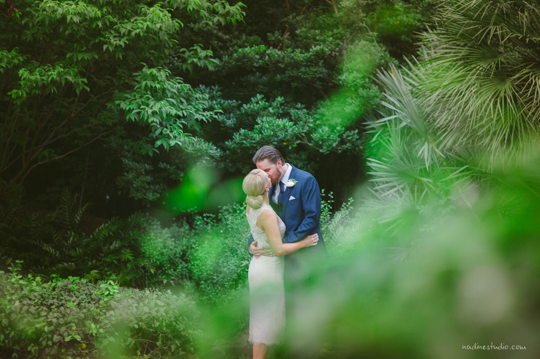 through the forest greenery we see the bride/groom