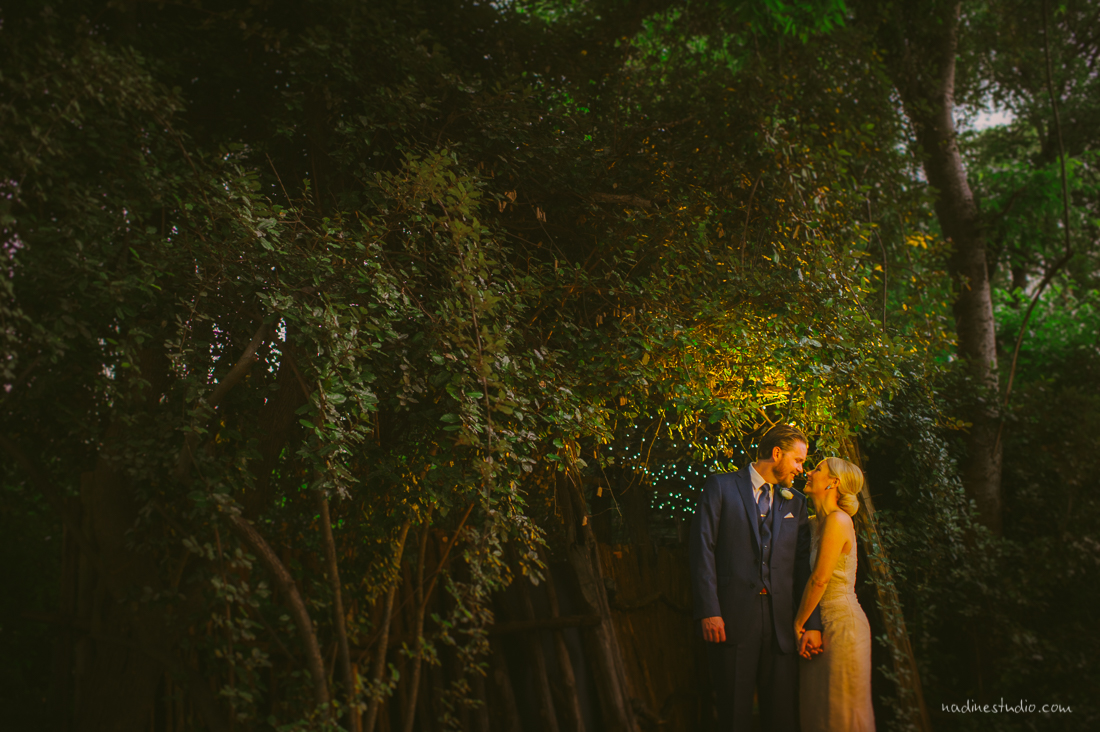 a night portrait of a couple with the trees in the back lit by a golden glow
