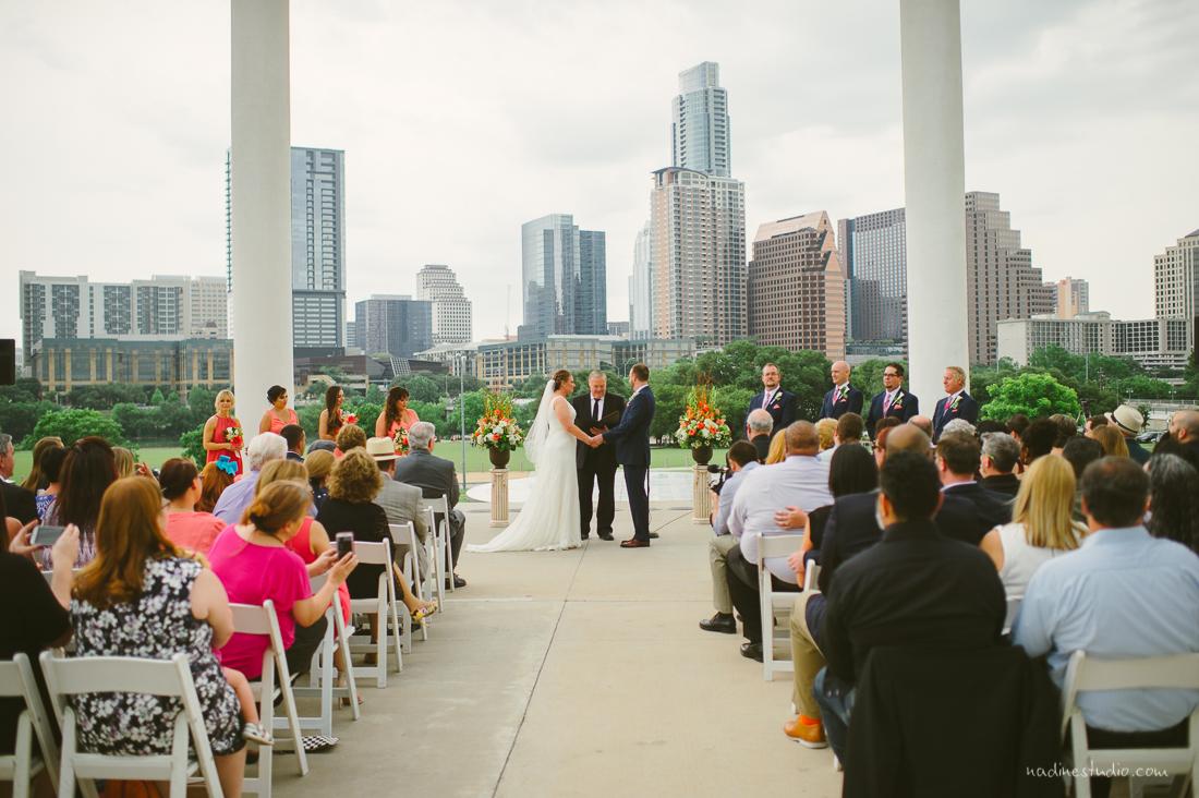 ceremony with austin skyline