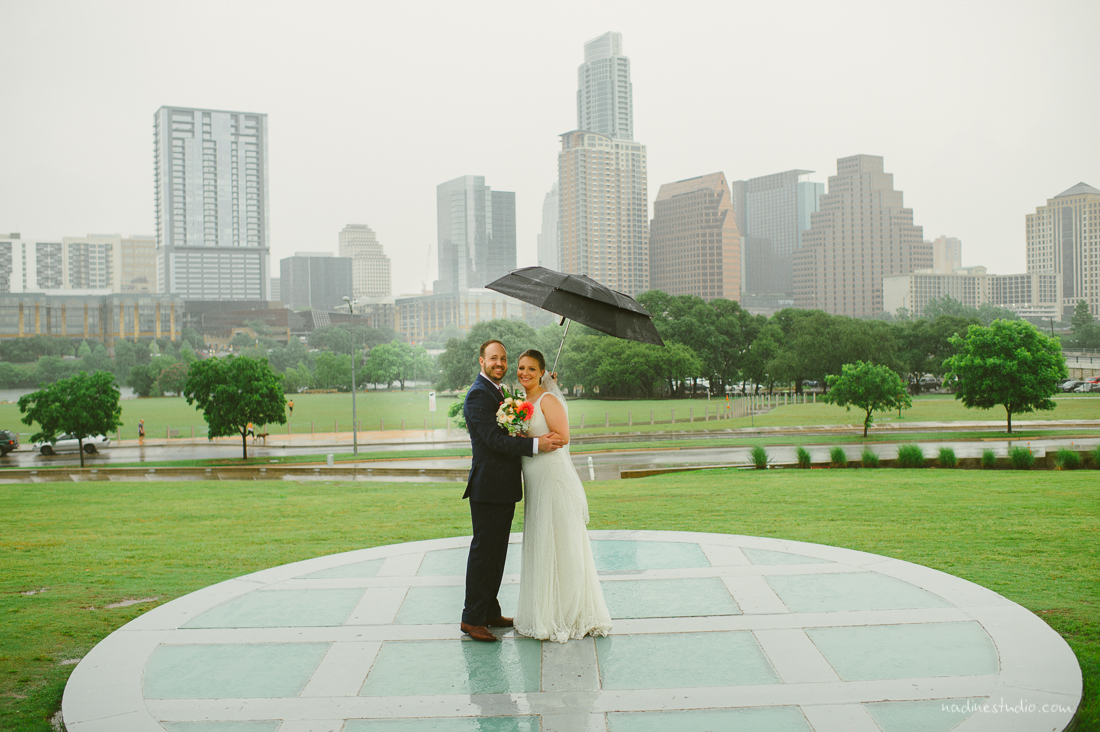 rainy portrait with umbrella at the long center