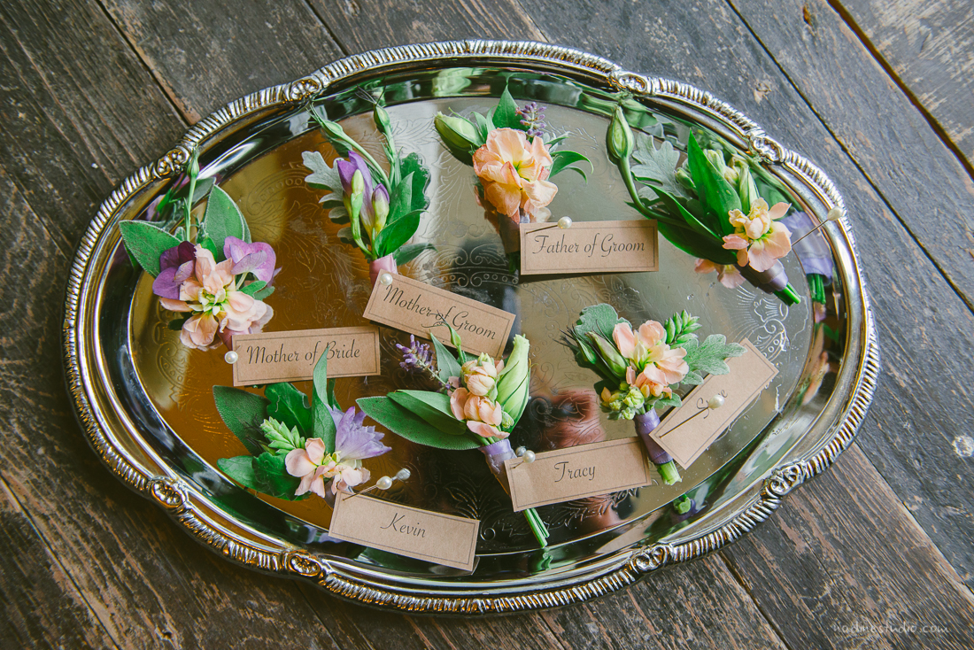 gorgeous florals bouttonaire son a tin tray