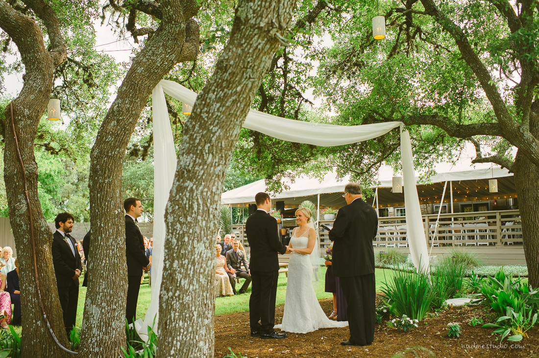 white hangings to give a lovely garden wedding feel