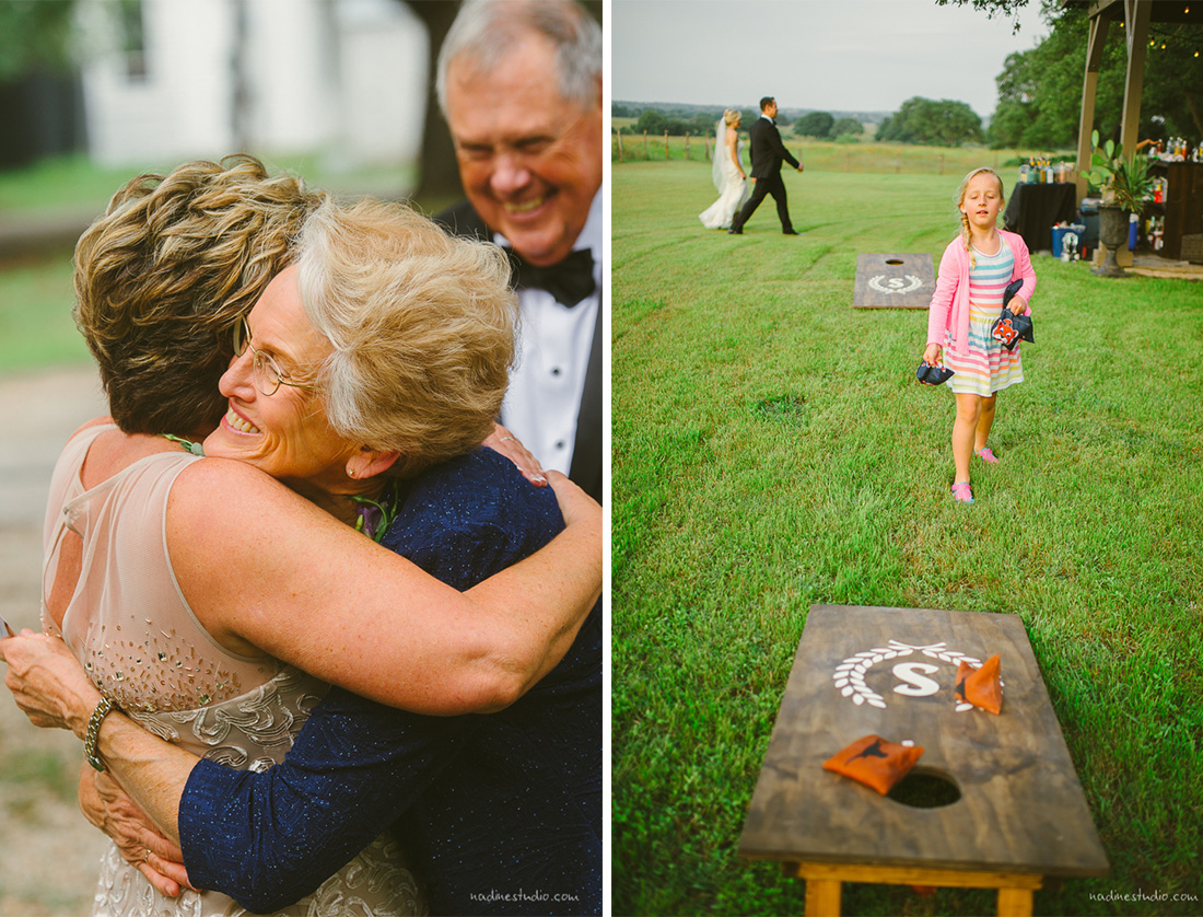 cornhole and hugging mothers of brides