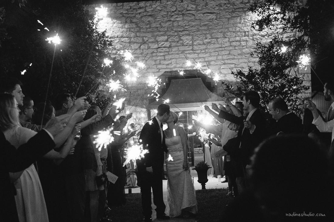 black and white sparkler exit