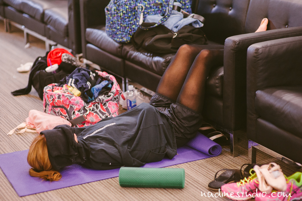 dancer lying on roller