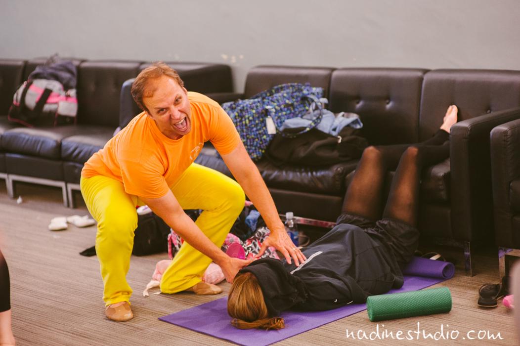 teacher trying to kill dancer on foam roller