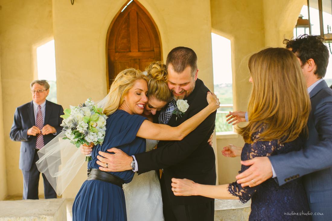 hugging family members