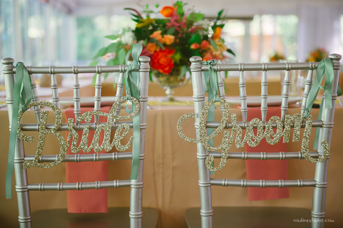 bride and groom glitter chair decor