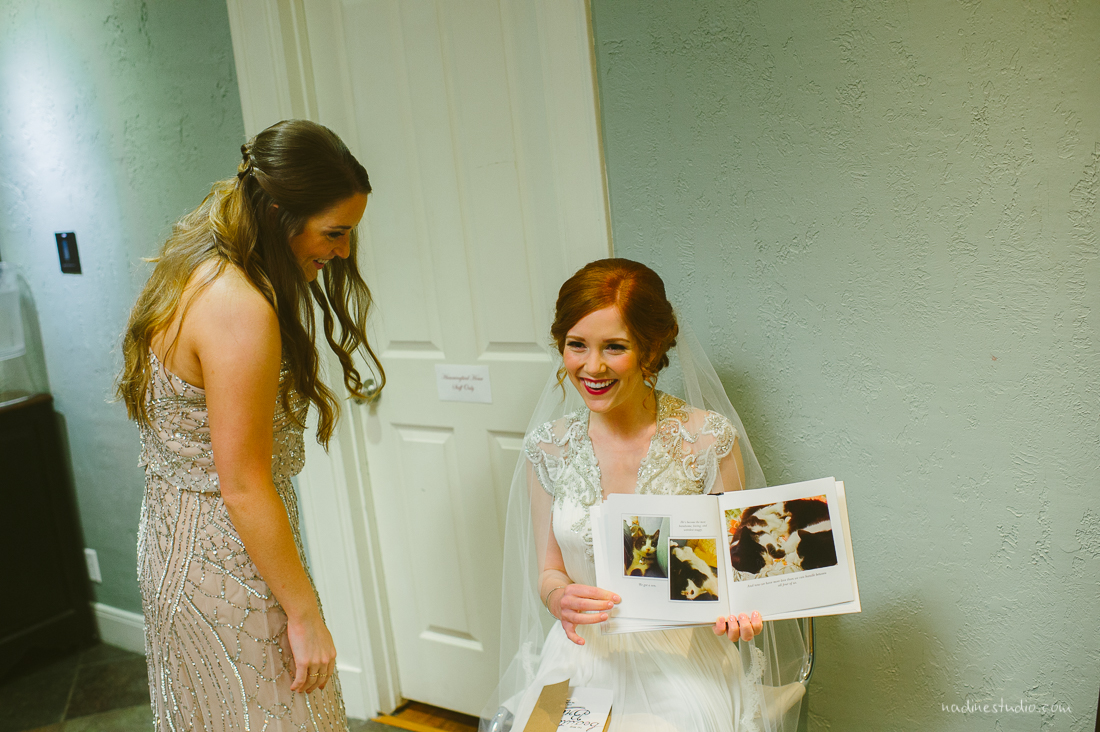 personlized book given by the groom at a wedding