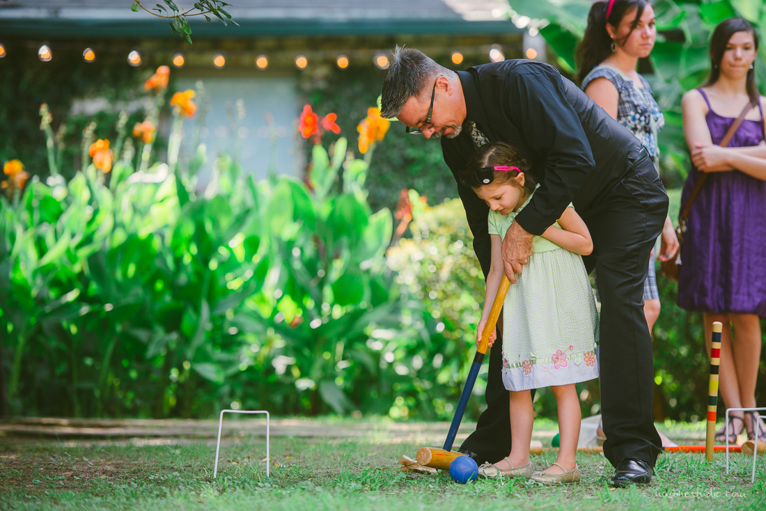 outside patio parlour games at a wedding