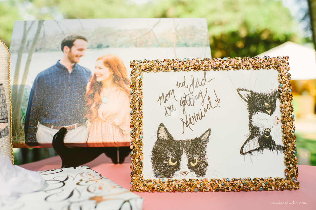 cat portraits at a wedding