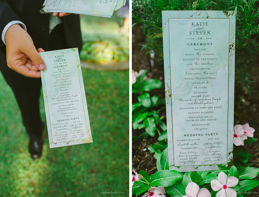 garden wedding ceremony notes