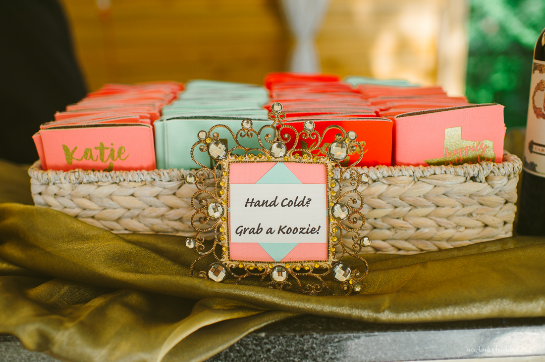 personalized green pink red wedding koozies