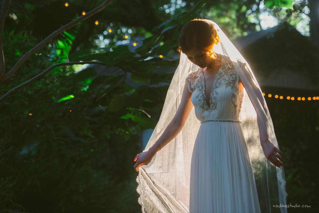 sun drenched veil bridal portrait