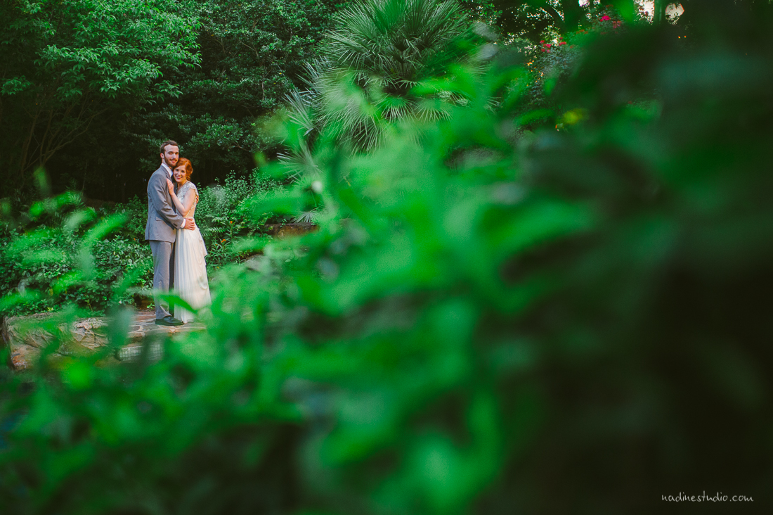 bride and groom portraits at a garden anthropologie-esque wedding