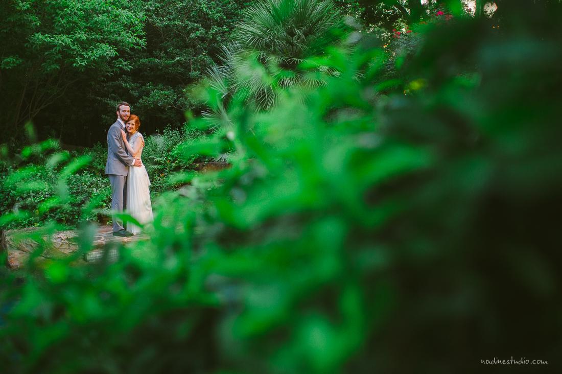 bride and groom portraits at a garden anthropologie-esque wedding