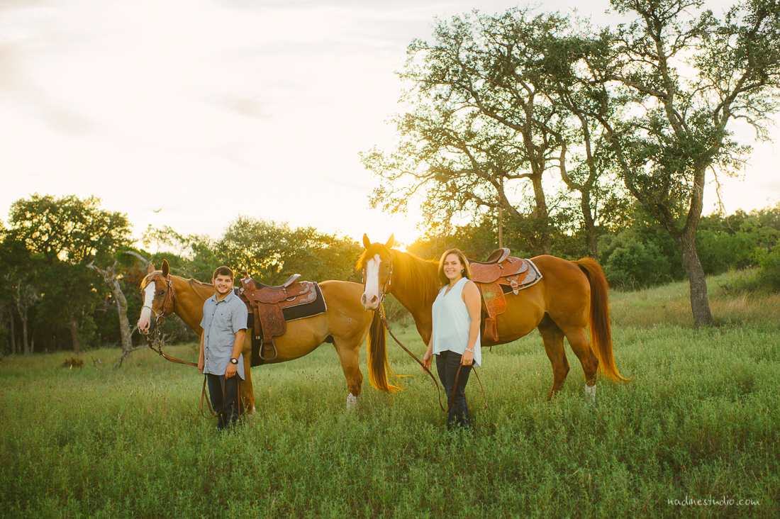 couple with horses at sunset