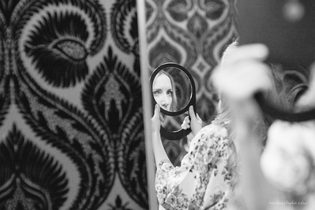 looking into a mirror