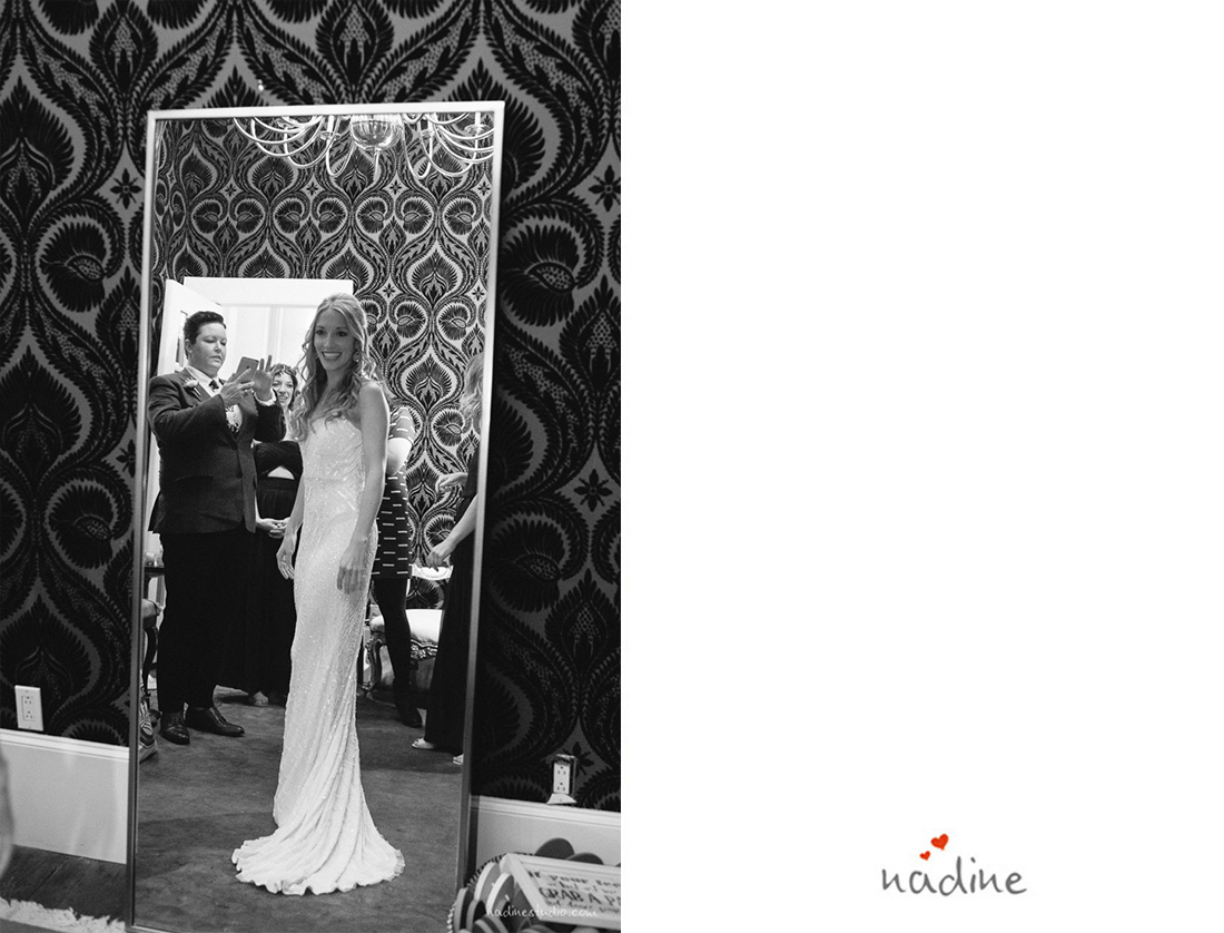 bride looking into the mirror