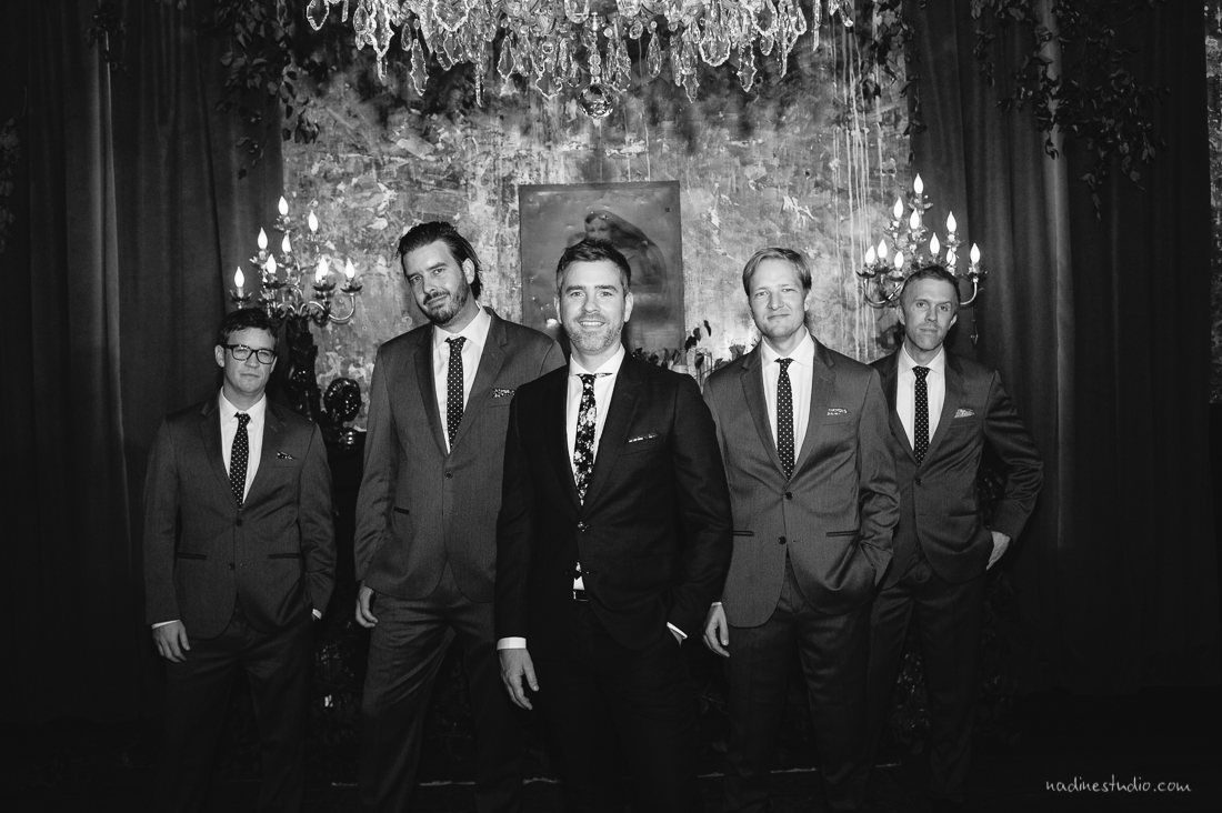 elegant gq style groomsmen portrait