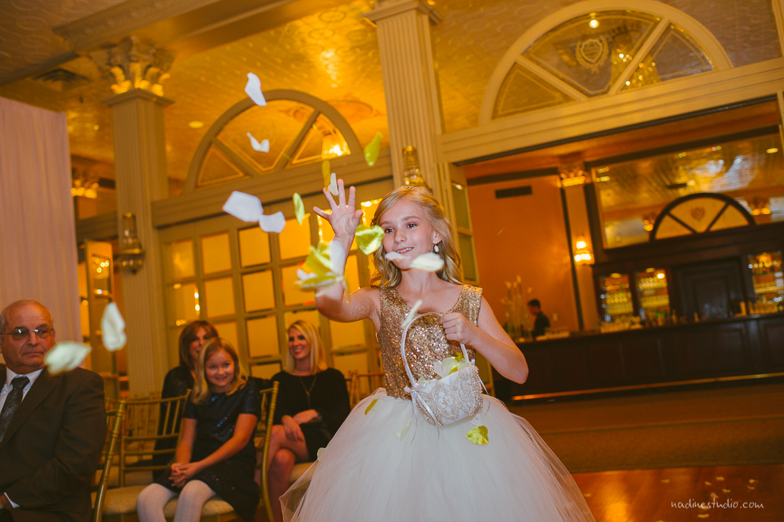 flowergirl tossing flowers