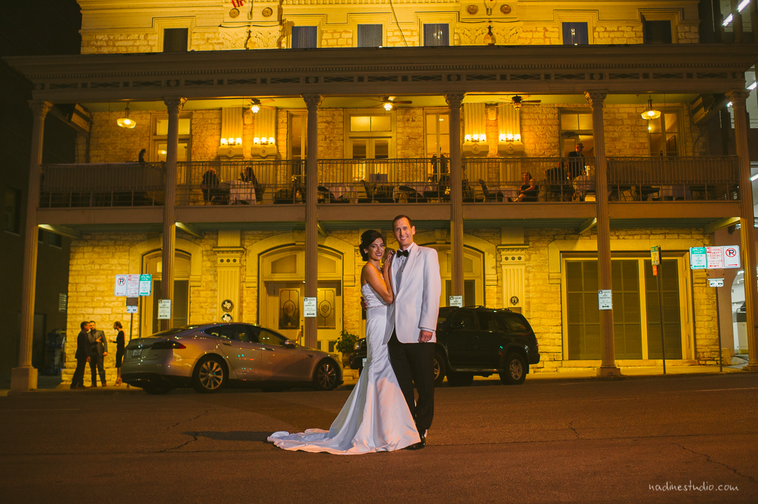bride and groom portrait at the austin club