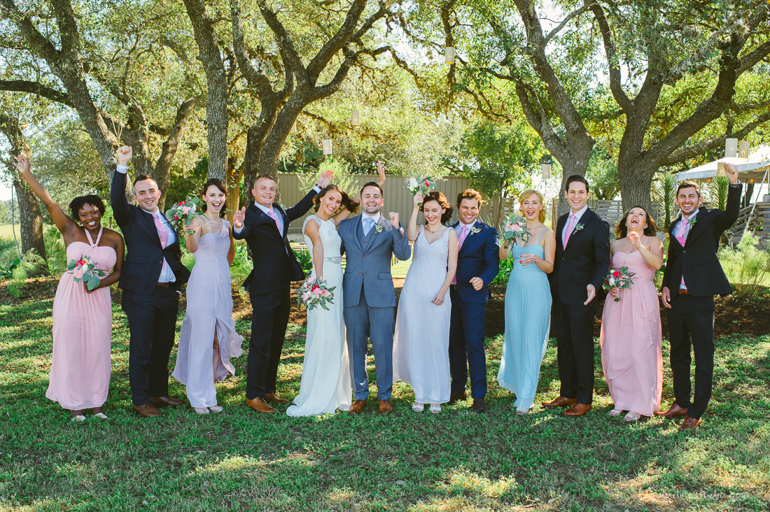 elegant pastel bridal party and groomsmen