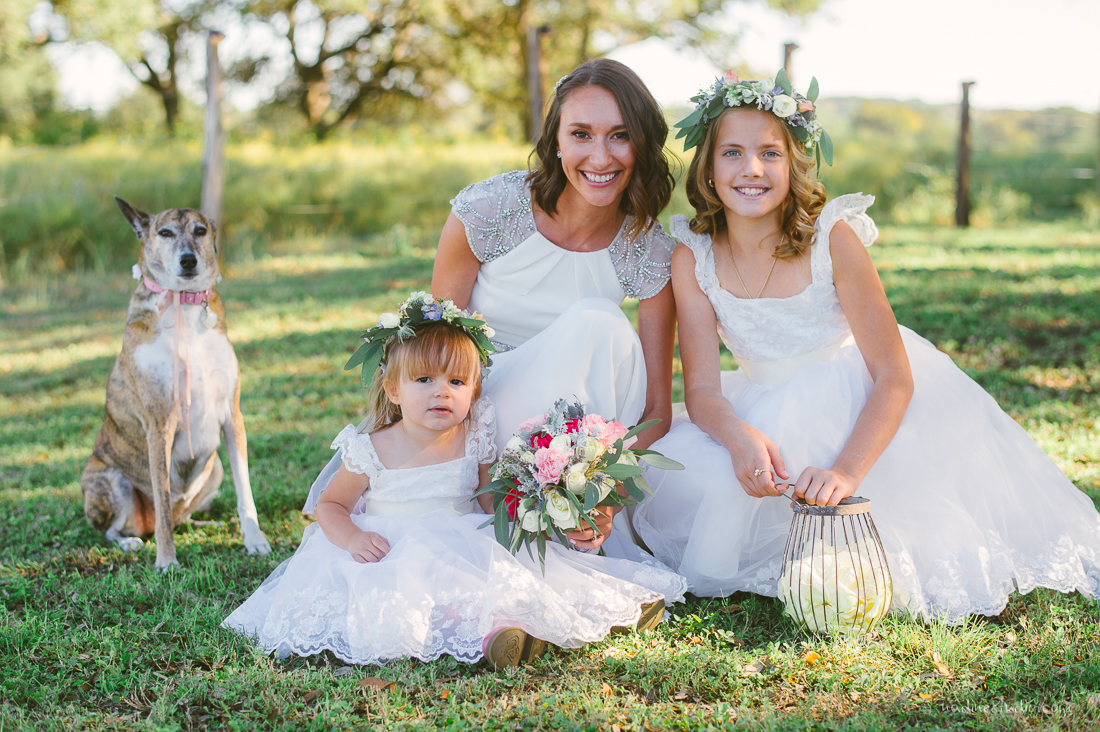 flower girl and bride