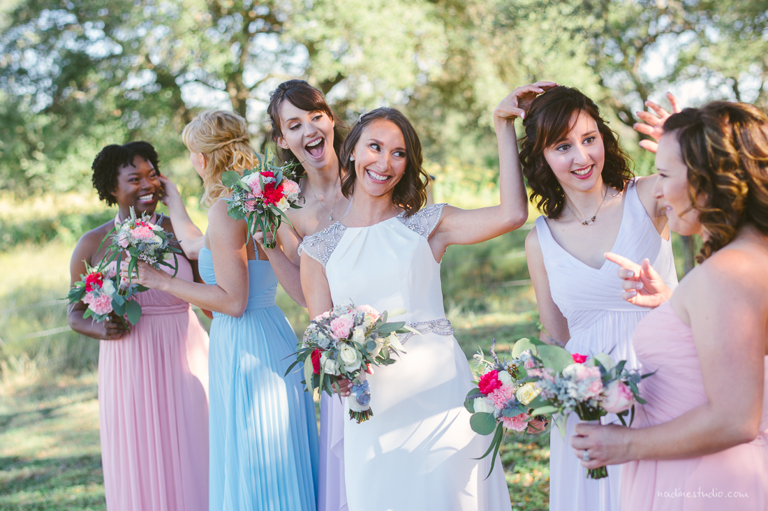 bridesmaids in different pastels