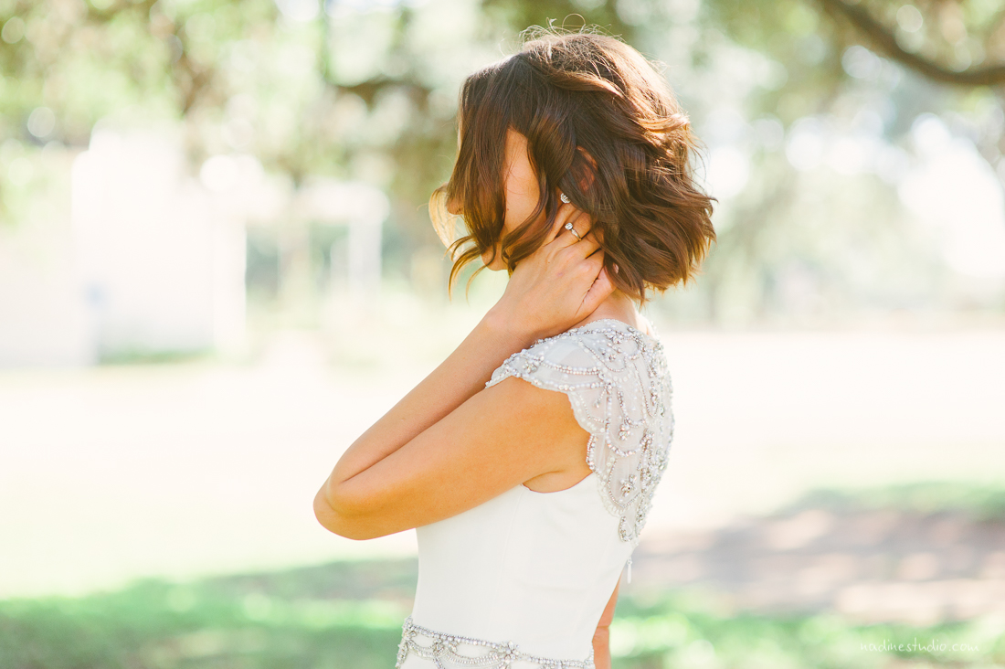 elegant bride in a jenny packham dress