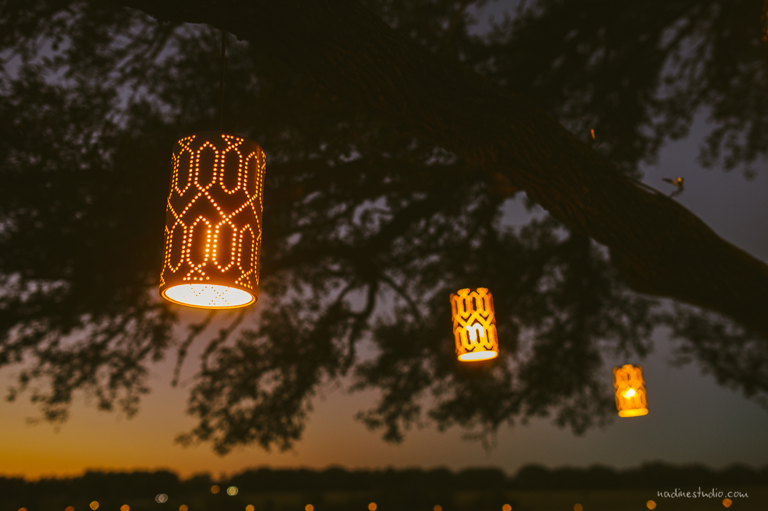 beautiful patterned lights at sunset