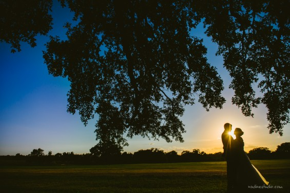 bride and groom portraits at sunset