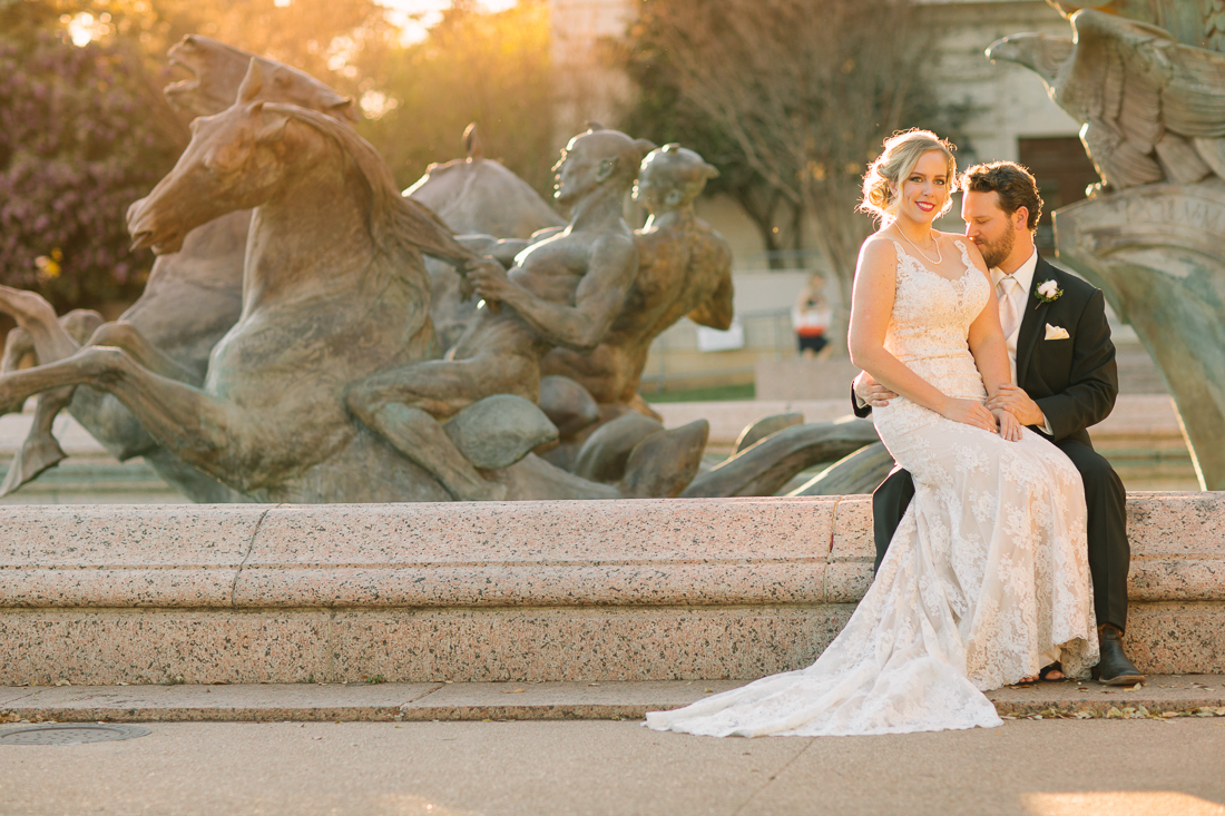 ut bride and groom portraits fountain