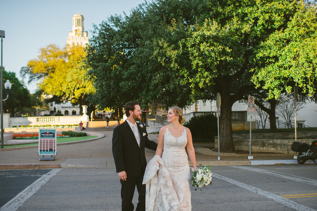 bridal and groom portrait at university of texas at austin