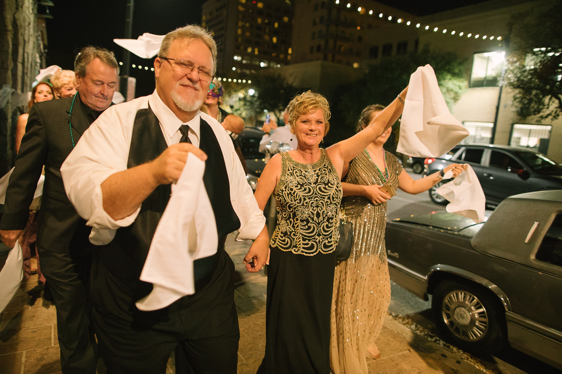downtown austin mardi gras second line wedding