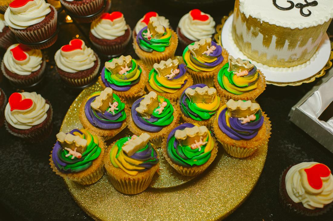 mardi gras wedding cupcakes and celebration
