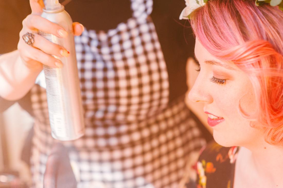 bride and hairspray