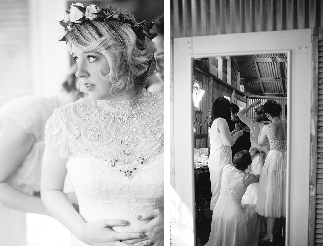 getting ready black and white bride and bridesmaid