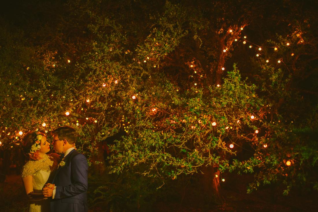 bride and groom in twinkle lights