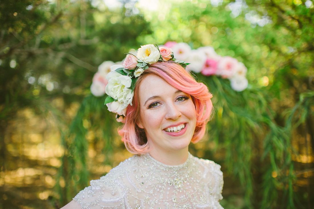 bride with pink hair